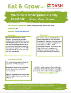 Welcome to Kindergarten Family Cookbook image
