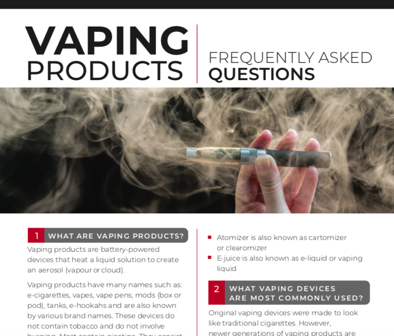 Vaping Products: Frequently Asked Questions image